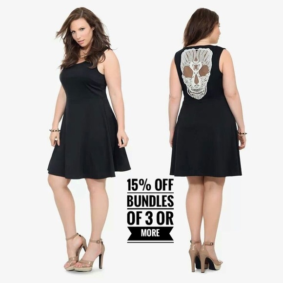 Torrid Dresses Black White Lace Skull Back Dress Poshmark